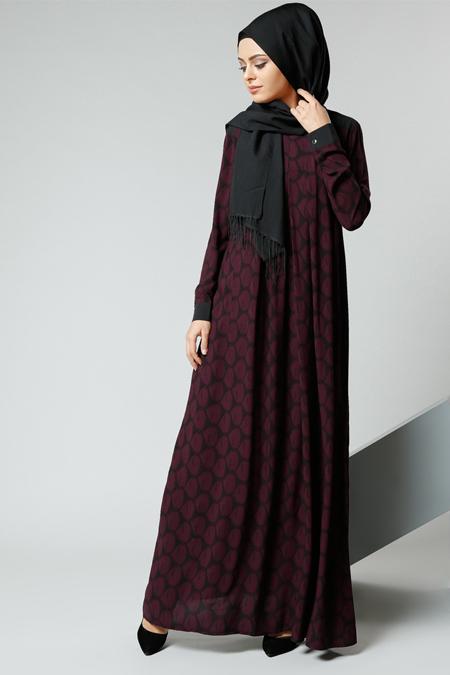 Refka Bordo Natürel Kumaşlı Desenli Elbise