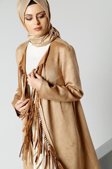 Refka Camel Süet Püsküllü Ceket