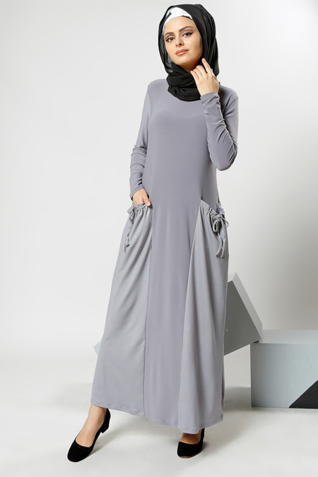 Refka Gri Cep Detaylı Elbise