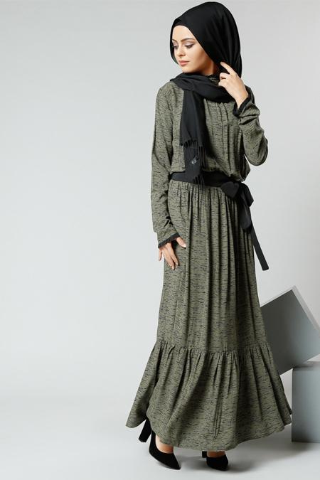 Refka Haki Natürel Kumaşlı Beli Büzgülü Elbise