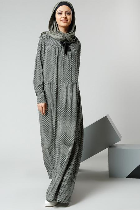 Refka Haki Natürel Kumaşlı Desenli Elbise