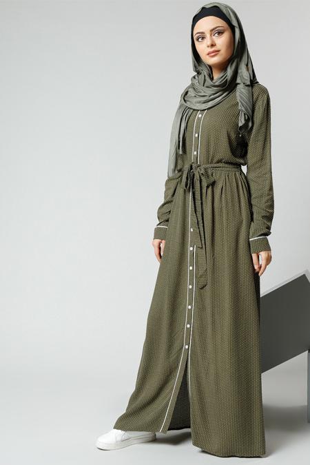 Refka Haki Natürel Kumaşlı Puantiyeli Elbise