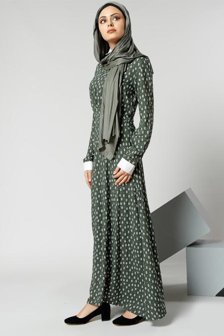 Refka Haki Natürel Kumaşlı Yaka Detaylı Elbise