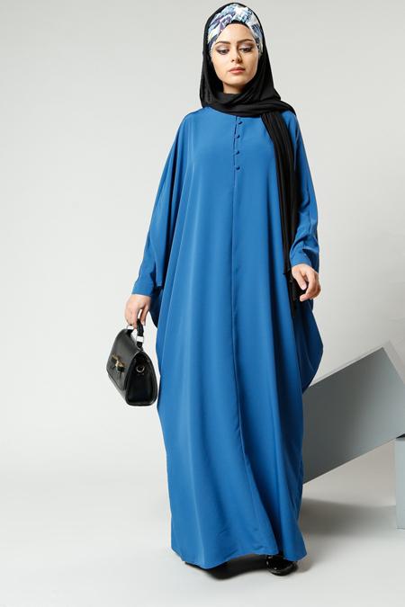 Refka İndigo Salaş Önden Düğmeli Elbise