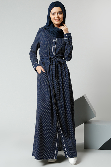 Refka Lacivert Natürel Kumaşlı Puantiyeli Elbise