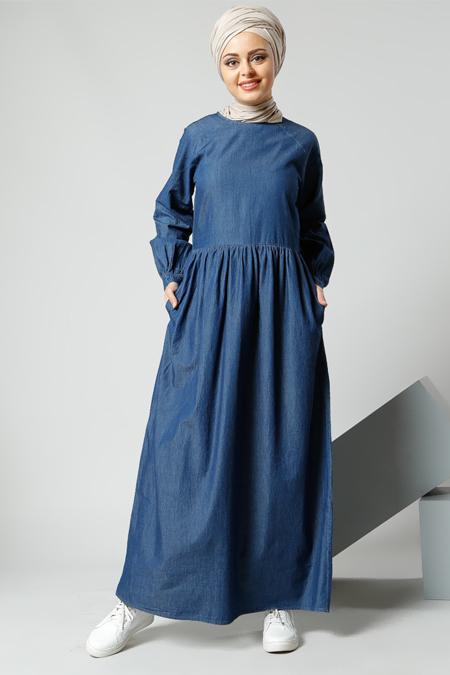 Refka Mavi Natürel Kumaşlı Kot Elbise