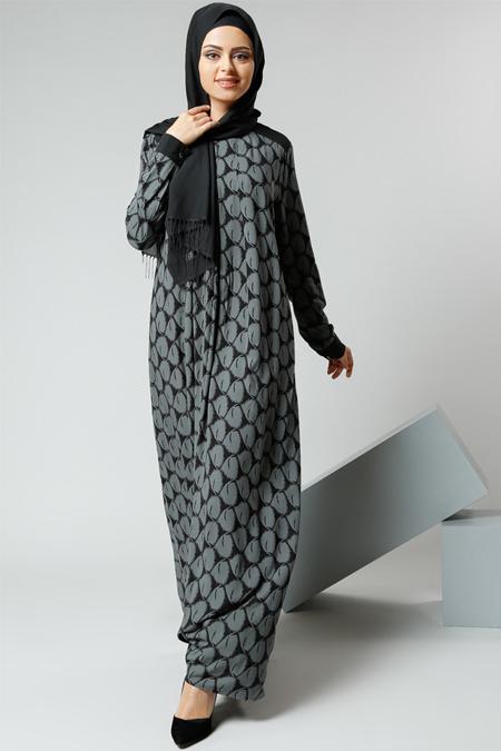Refka Nefti Natürel Kumaşlı Desenli Elbise