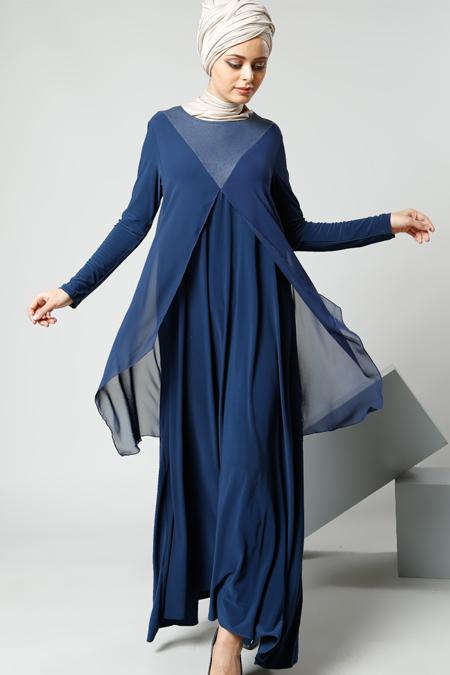 Refka Petrol Şifon Parçalı Elbise