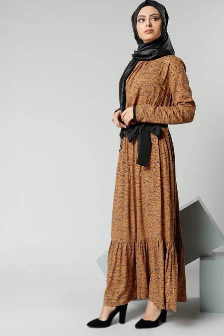 Refka Safran Natürel Kumaşlı Beli Büzgülü Elbise