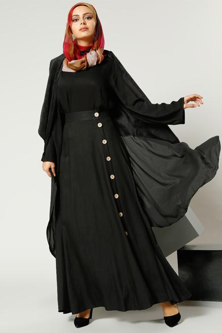 Refka Siyah Boydan Düğmeli Kloş Etek