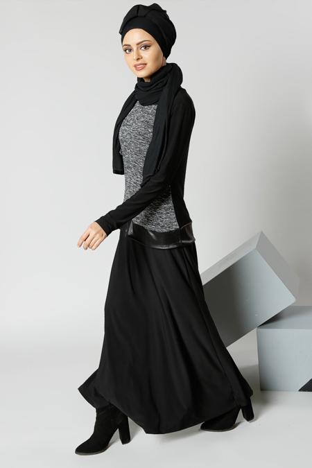 Refka Siyah Garnili Elbise