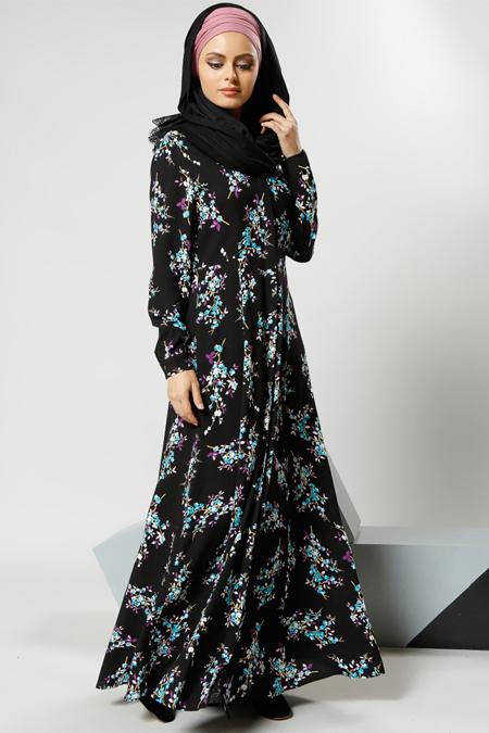 Refka Siyah Natural Kumaşlı Gizli Düğmeli Elbise