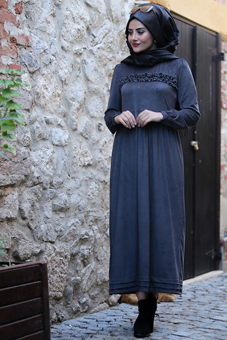 Seda Tiryaki Gri Züma Elbise