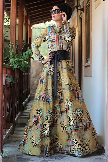 Selma Sarı Design Sarı Leopar Desenli Elbise