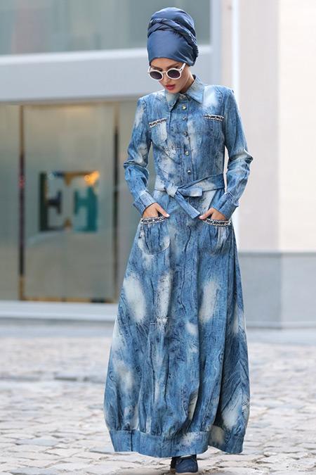 Selma Sarı Design Mavi Kot Elbise