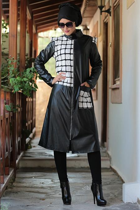 Selma Sarı Design Siyah Dama Desenli Kap