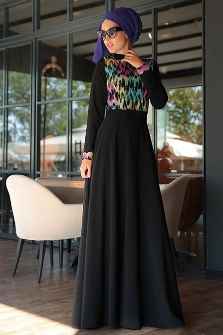 Selma Sarı Design Siyah Liya Elbise