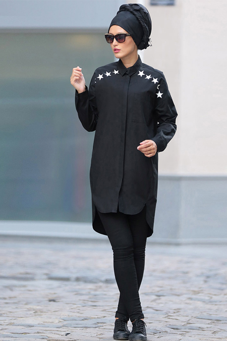 Selma Sarı Design Siyah Yıldız Baskılı Tunik