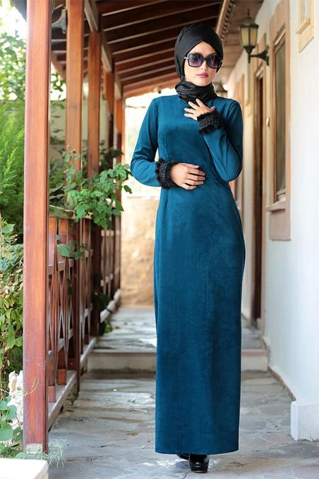 Selma Sarı Design Turkuaz Kadife Elbise