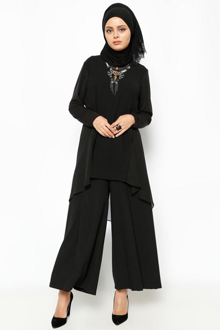 Societa Siyah Arkası Uzun Tunik