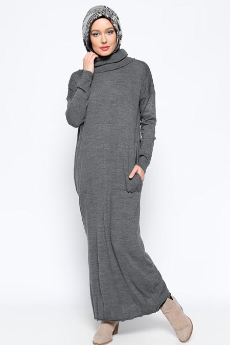 Zentoni Füme Cepli Triko Elbise