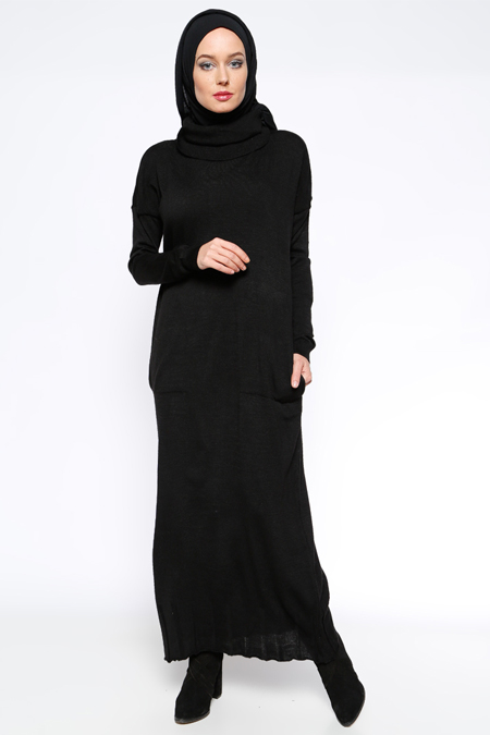 Zentoni Siyah Cepli Triko Elbise