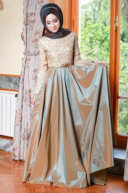 Gamze Özkul Haki Lauren Abiye Elbise