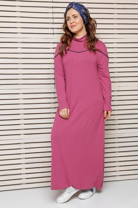 Alia Gül Kurusu Biye Detaylı Elbise