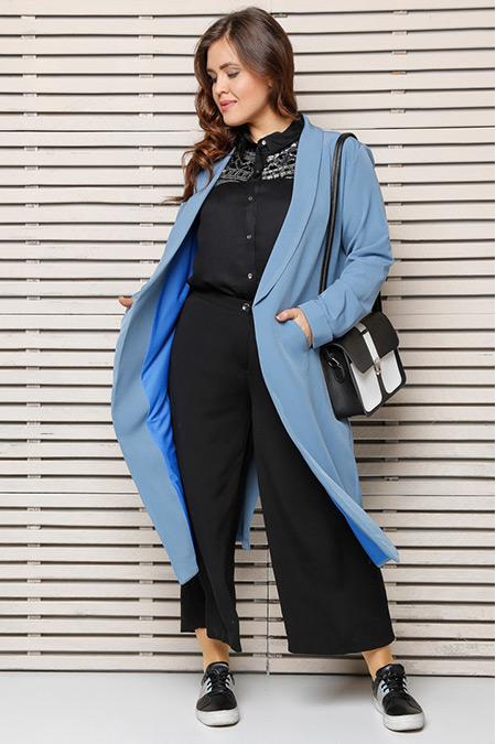 Alia Mavi Cepli Uzun Ceket