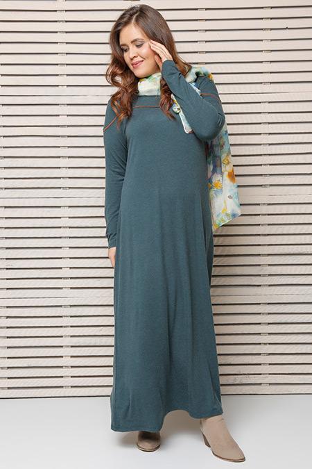 Alia Yeşil Biye Detaylı Elbise