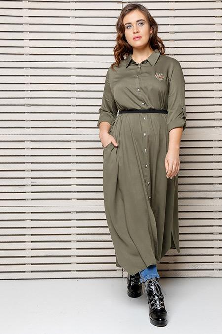 Alia Yeşil Düğmeli Tunik Elbise