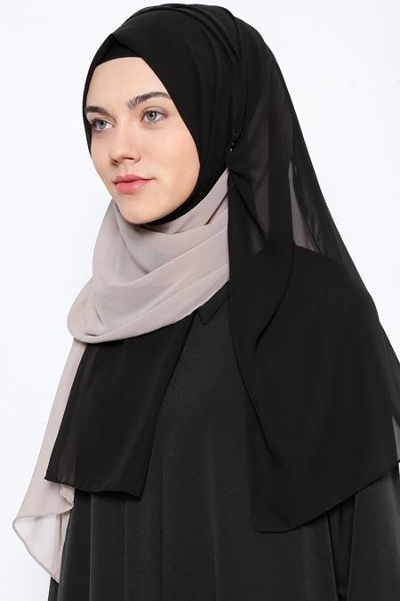 Argite Eşarp Siyah Vizon İki Renkli Şifon Şal