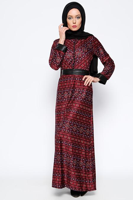 BÜRÜN Bordo Desenli Elbise
