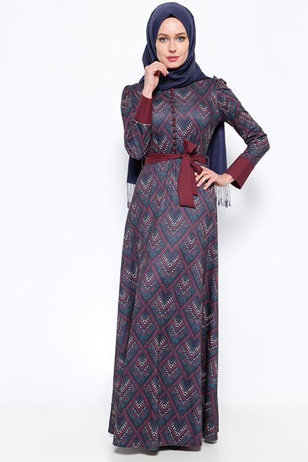 BÜRÜN Lacivert Bordo Desenli Elbise