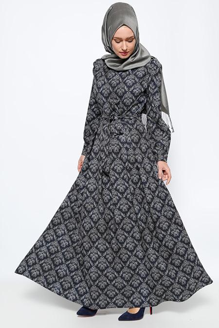 BÜRÜN Lacivert Desenli Elbise
