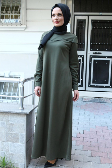 Beyhan Haki Biyeli Tesettür Elbise