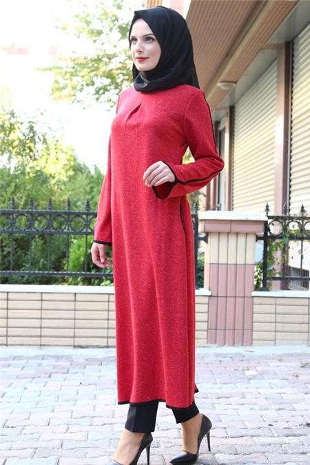 Beyhan Kırmızı Biyeli Tesettür Tunik