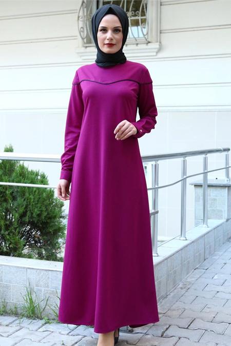 Beyhan Mor Biyeli Tesettür Elbise