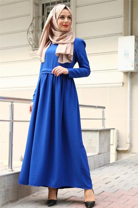 Beyhan Saks Belden Fırfırlı Elbise