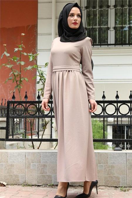 Beyhan Vizon Belden Fırfırlı Elbise