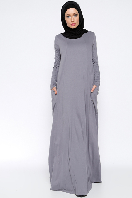 Everyday Basic Antrasit Natürel Kumaşlı Cepli Elbise