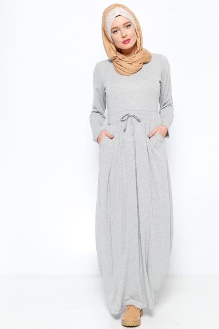 Everyday Basic Gri Beli Büzgülü Elbise
