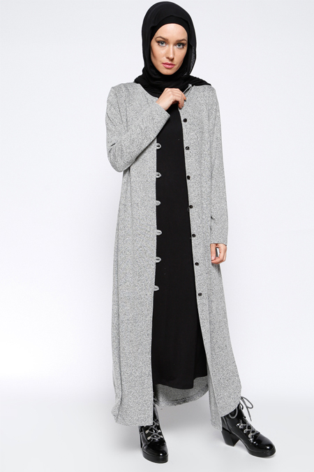 Everyday Basic Gri Boydan Düğme Detaylı Tunik