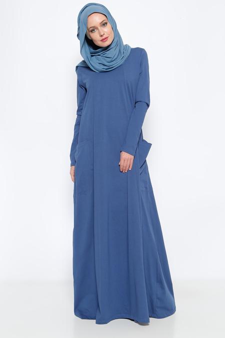 Everyday Basic İndigo Natürel Kumaşlı Cepli Elbise