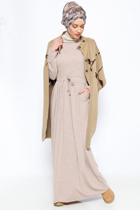 Everyday Basic Vizon Beli Büzgülü Elbise