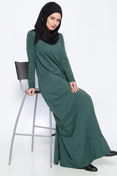 Everyday Basic Zümrüt Natürel Kumaşlı Cepli Elbise