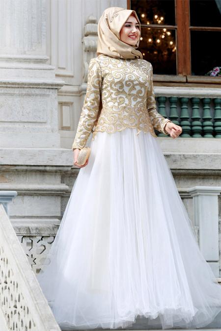 Gamze Özkul Ekru Diva Abiye Elbise