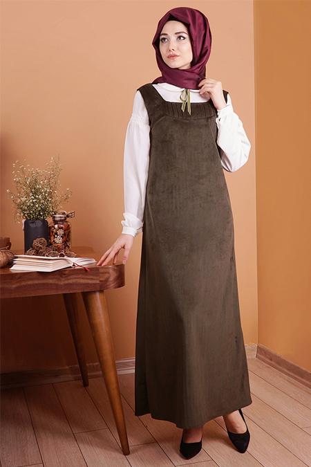 Gamze Özkul Haki Askılı Kadife Elbise