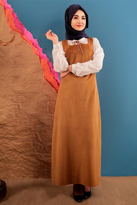 Gamze Özkul Hardal Askılı Kadife Elbise