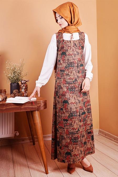 Gamze Özkul Kiremit Desenli Askılı Kadife Elbise